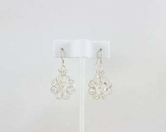 Sterling Silver Filigree Flower Dangle Drop Earrings