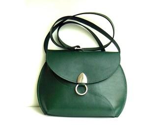Dark Green Leather Cross-body bag for Women