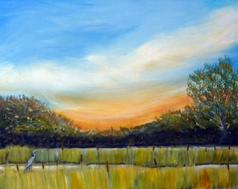 Wetlands Sunrise with Heron Original Oil Painting 16 x 20""