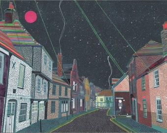 King St (Sandwich Kent). A Ltd edition, numbered and signed print from a Painting by Richard Friend