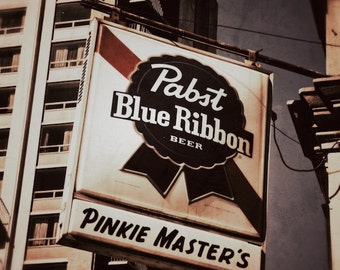 Pabst Blue Ribbon Sign Photo, Beer Sign Print, Bar Room Decor, Old Sign Photograph