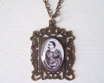 Vintage Tattooed Man Pendant Necklace Jewellery
