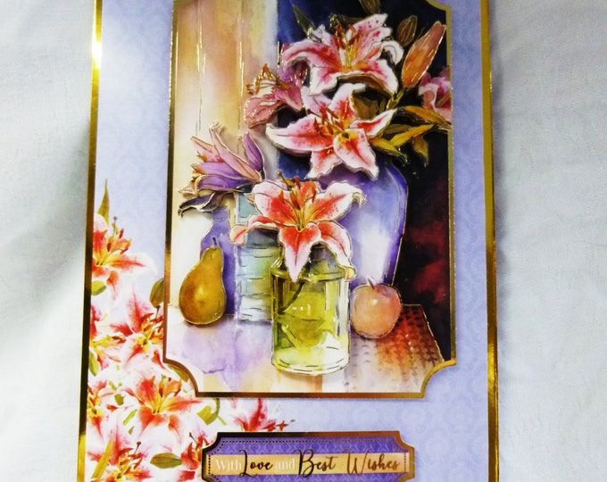 Lilies in a Vase,3D Decoupage Card, Best Wishes Card, Greeting Card, Birthday Card, Anniversary Card, Any Occasion Card, Female, Any Age