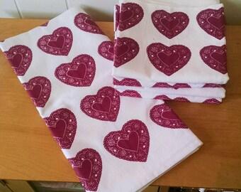 SALE Organic tea towel heart pattern print