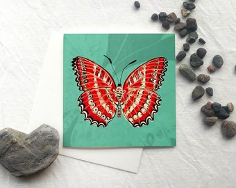 butterfly art card, art print, red and green butterfly, wall art, cethosia biblis, art print card