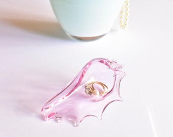 Ring Holder Dish, Necklace Pendant Organization, Hand Blown Glass Seashell, PINK