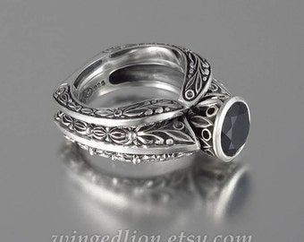 THE COUNTESS Black Spinel silver ring and band set (sizes 7 to 9.5)
