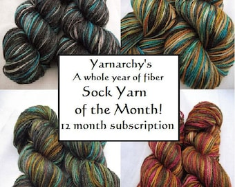 Sock Yarn Club Membership, Handpainted sock yarn Full Year of monthly shipments, free shipping