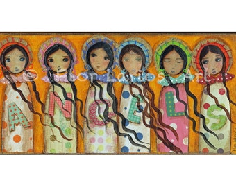 Angels - Folk Art  Print from Mixed Media Collage Painting (5 x 10  inches PRINT) by FLOR LARIOS