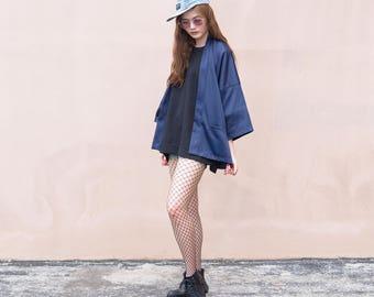 Women's Navy Japan Kimono Cardigan, Man Noragi Coat, Oversized Street Haori Jacket, Unisex Streetwear, Loose Style Yukata Overcoat