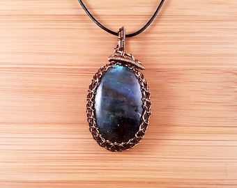 Bronze wire wrapped blue labradorite pendant necklace