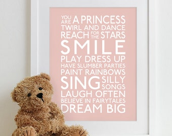 Baby Girl Nursery Art Print - typography poster nursery prints kids room decor nursery wall art baby gift - Subway Playroom Rules Sign