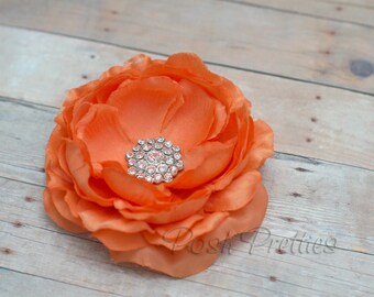 Orange Flower Hair Clip Tangerine Flower Hair Clip Ranunculus Hair Clip Rhinestone Flower Hair Clip Ruffled Flower Hair Clip Headband