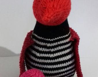 Teddy bird, hand knitted toy