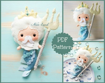 Mythology. Poseidon. Neptune. Mermaid. PDF pattern. Felt doll.