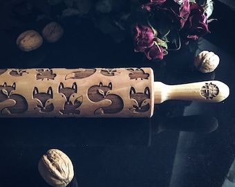 FOX rolling pin, embossing rolling pin, engraved rolling pin by laser