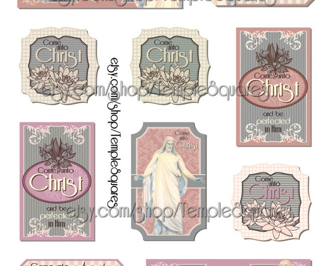 Printable Files for Vintage Style Gift Tags or Labels Come Unto Christ Young Women  Relief Society Missionary Seminary Youth Conference