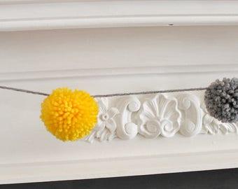 Handmade Wool Pom Pom Garland in Yellow and Grey