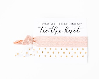 Hair Tie Bridal Shower Favor | Blush + Gold Hair Tie Favors, Bridesmaid Gifts, Wedding Party Gift, Wedding Shower Favors, Nude Blush Pink