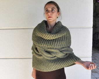 Knit Poncho Cape Sweater Cardigan Chunky Oversized Wrap Sweater Olive Green