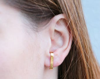 Gold Plated Silver Cuff Earrings | Minimal  Post earrings | Double Suspender | Edgy | Modern |Statement Earrings | Studs |Rose Gold