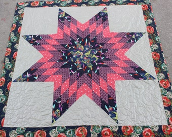 New Floral Mod Native American Star Quilt (58 in. x 57 in.) - FREE SHIPPING