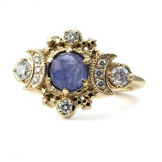 Rustic Rose Cut Tanzanite Cosmos Engagement Ring - Moon and Star Diamond Ring