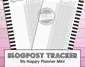 Mambi Mini Happy Planner Printable Essential Blogpost Tracker inserts for Happy Planner Mini