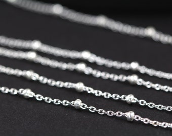 Wholesale Satellite Chain, 925 Sterling Silver Ball Chain Bulk, Curb Chain, 10, 30, 50 or 100 Feet - Wholesale 35% Off SS005