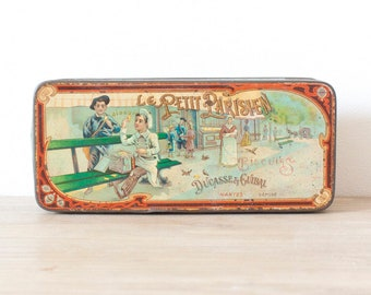 """Rare """"le Petit Parisien"""" collectible tin 1900s - Vintage french metal box  - Retro kitchen metal canister - French Country style"""