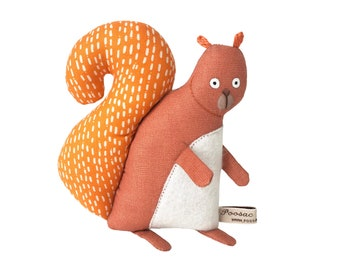 Squirrel soft sculpture, hand-embroidered art doll, woodland creature, handmade toy squirrel, plush doll, squirrel stuffed animal, Poosac