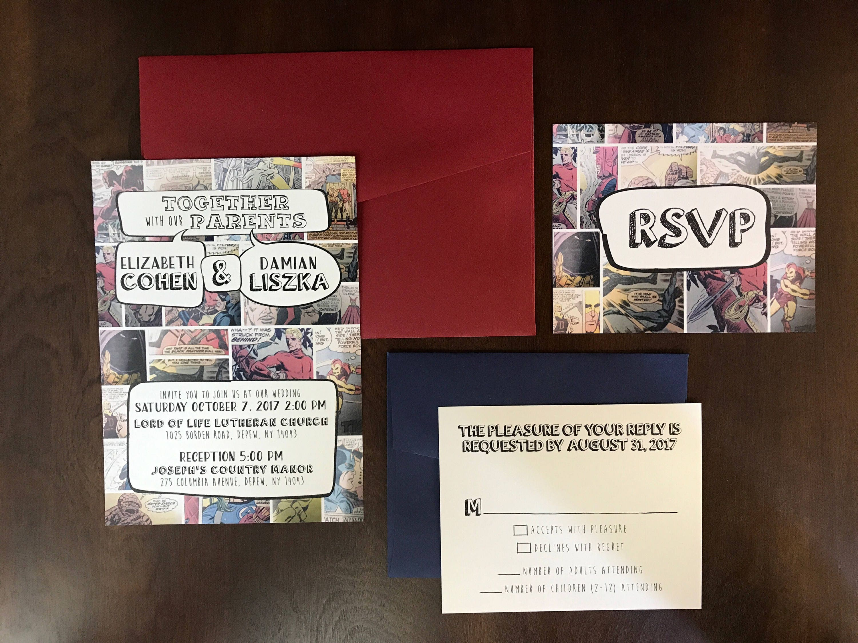 5x7 Comic Book Nerd Geek Wedding Invitation and RSVP Spiderman