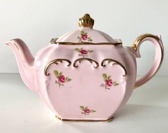 Small Sadler Pink Rosebud Cube Teapot