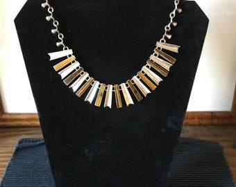Vintage Modernist Mexican Sterling & Tiger's Eye Necklace