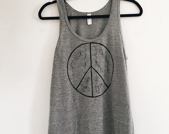 Sale Heather Gray Tri-blend PEACE Sign Uni-sex Women's Tank. Peace Tank. Ready to ship.
