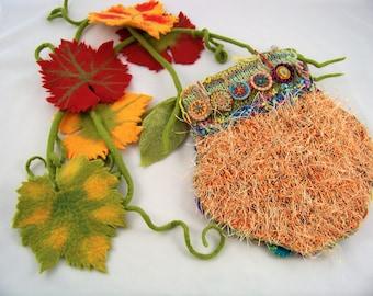 Sculpture | Purse | Collectible | Knit | Handmade | OOAK |  Felt | Art  Journey Bag~Pinwheels
