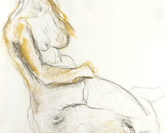 Nude, original drawing of pastel chalk, pencil and charcoal, slightly sexy pose in the studio