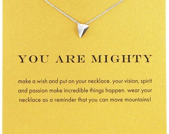 You Are Mighty Inspirational Pendant in White Gold