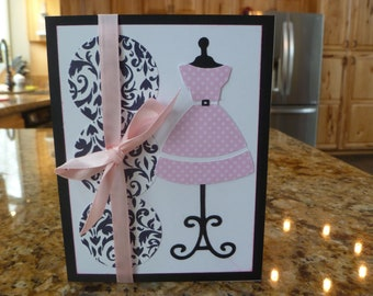 Dressform hand made card with pink dress and pink ribbon.