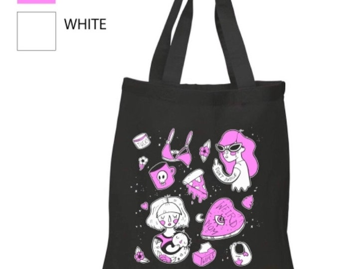 Weird Mom Tattoo Flash Art / Black or Navy Canvas Tote Bag