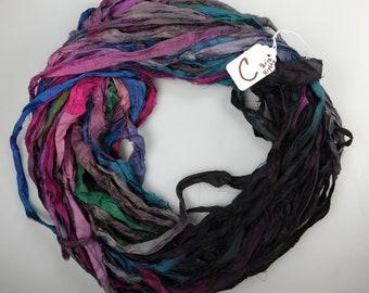 Hand Painted dyed sari ribbon, Sari silk ribbon, silk sari ribbon, multi color ribbon, weaving supply, tassel supply, knitting supply