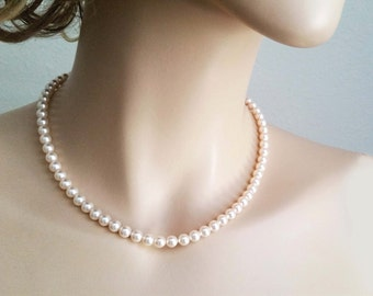 One Strand Swarovski Pearl Necklace Bridal Necklace Simple Wedding jewelry Bridesmaids Necklace with glamorous 6mm pearls Ivory white