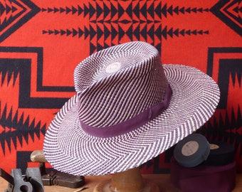 "Handmade Purple/Dark Brown Patterned Panama Straw Fedora Hat -- Size 7 3/8 - Large - 22 1/4"" - 59 cm"