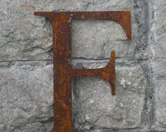 Flat Metal Rusty Letter F / Metal / Letter / Garden / Industrial / Vintage / Rustic / Floral / Gift / Wedding / Home / 25cm
