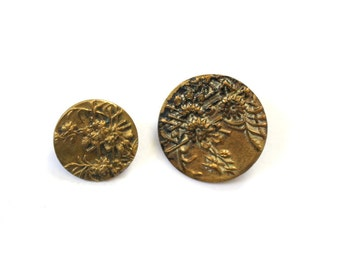 Antique Chrysanthemum Buttons One Small One Large