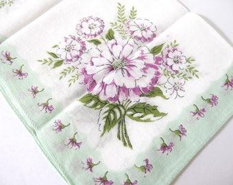 Vintage Handkerchief Purple Flowers with Mint Green Edge