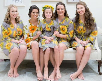 Gray Sunflower Bridesmaids robes | Kimono Style getting ready robes for wedding day wedding favors Bridesmaids gift, Bridesmaid Robes