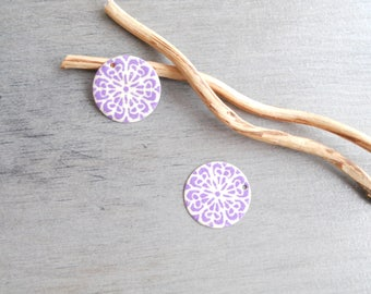 Set of 4 lilac and ivory sequins 20 mm