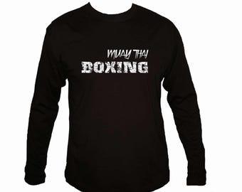 Muay Thai boxing Martial arts MMA distressed print black 100% cotton t-shirt