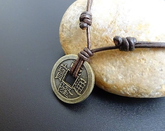 Chinese Coin Necklace, lucky charm necklace, Amulet lucky coin necklace, Lucky Coin pendant, Surfer Necklace, Chinese Coin Amulet necklace